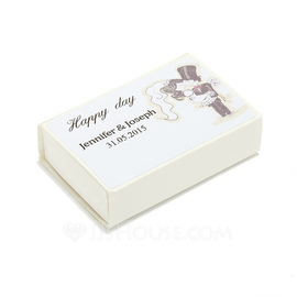 Personalized Bride And Groom Hard Card Paper Matchboxes (Set of 12) (118054937)