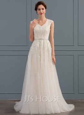 A-Line V-neck Sweep Train Tulle Wedding Dress With Beading Sequins Bow(s) (002134397)
