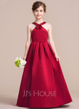 A-Line/Princess Scoop Neck Floor-Length Satin Junior Bridesmaid Dress With Bow(s) (009095084)