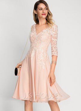 A-Line V-neck Knee-Length Chiffon Cocktail Dress With Sequins (016212865)