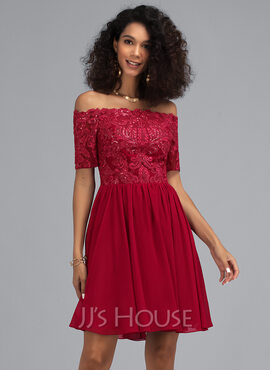 A-Line Off-the-Shoulder Short/Mini Chiffon Homecoming Dress With Sequins (022203161)