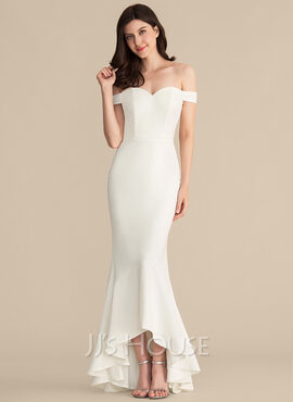 Trumpet/Mermaid Off-the-Shoulder Asymmetrical Stretch Crepe Wedding Dress (002207450)