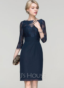 Sheath/Column Scoop Neck Knee-Length Chiffon Cocktail Dress With Ruffle (016094352)