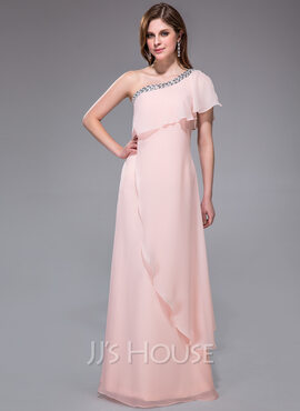 A-Line/Princess One-Shoulder Floor-Length Chiffon Holiday Dress With Beading (017041071)
