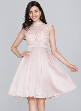 A-Line High Neck Knee-Length Satin Homecoming Dress (022124841)