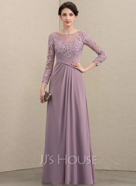 A-Line Scoop Neck Floor-Length Chiffon Lace Mother of the Bride Dress With Ruffle (008195388)