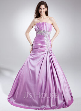 A-Line/Princess Scalloped Neck Sweep Train Taffeta Quinceanera Dress With Embroidered Ruffle Beading