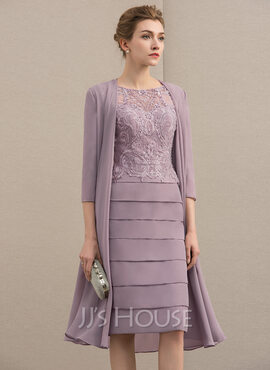 Sheath/Column Scoop Neck Knee-Length Chiffon Lace Mother of the Bride Dress With Beading Sequins (267183921)