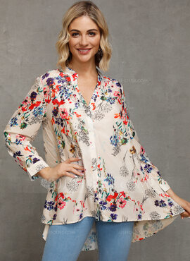 manches 3/4 Polyester Col V Blouses (1003229143)