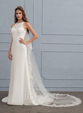 Sheath/Column Scoop Neck Sweep Train Chiffon Wedding Dress (002118438)