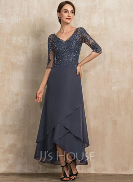 A-Line V-neck Asymmetrical Chiffon Lace Evening Dress With Beading Sequins (017237031)