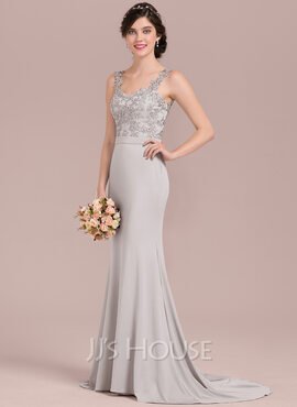 Trumpet/Mermaid Sweetheart Sweep Train Lace Jersey Bridesmaid Dress With Beading Sequins (007126436)