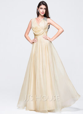 A-Line/Princess V-neck Floor-Length Chiffon Holiday Dress With Ruffle Beading (020016061)
