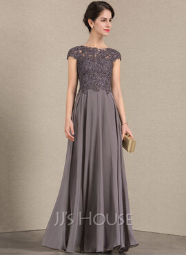 A-Line Scoop Neck Floor-Length Chiffon Lace Mother of the Bride Dress With Beading (008143385)