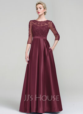 Ball-Gown Scoop Neck Floor-Length Satin Evening Dress With Pockets (017093487)