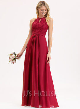 A-Line/Princess Scoop Neck Floor-Length Chiffon Lace Bridesmaid Dress (007153307)