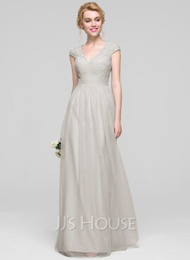 A-Line/Princess V-neck Floor-Length Tulle Bridesmaid Dress With Ruffle (266183721)