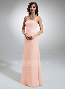 Sheath/Column Strapless Floor-Length Chiffon Bridesmaid Dress With Ruffle (007001790)