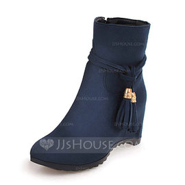 Women's Suede Wedge Heel Wedges Boots Ankle Boots shoes (088176625)