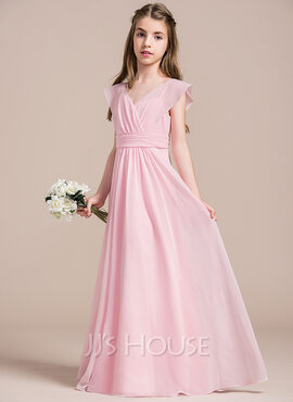 A-Line/Princess V-neck Floor-Length Chiffon Junior Bridesmaid Dress With Ruffle (268177133)