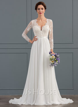A-Line/Princess V-neck Sweep Train Chiffon Wedding Dress With Beading Sequins (002134400)