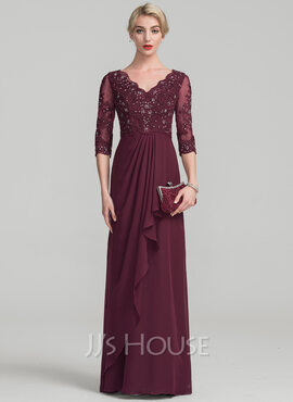 A-Line/Princess V-neck Floor-Length Chiffon Lace Mother of the Bride Dress With Beading Cascading Ruffles (008114225)