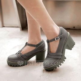 Women's Leatherette Chunky Heel Mary Jane With Buckle shoes (085114544)
