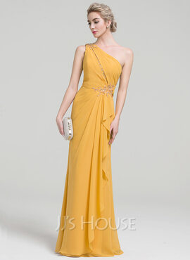 Sheath/Column One-Shoulder Floor-Length Chiffon Evening Dress With Beading Sequins Cascading Ruffles (017093479)