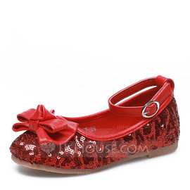 Girl's Closed Toe Fabric Flat Heel Flats Flower Girl Shoes With Bowknot Sequin Velcro (207121299)
