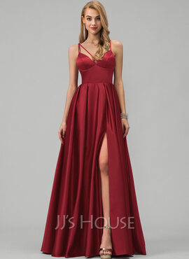 A-Line V-neck Floor-Length Satin Prom Dresses With Split Front Pockets (018220223)