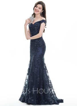 Trumpet/Mermaid Off-the-Shoulder Sweep Train Lace Prom Dresses With Sequins