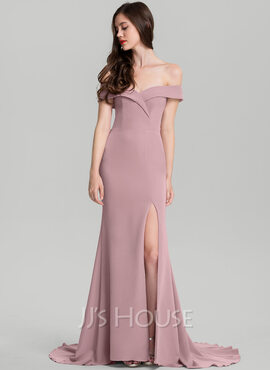 Sheath/Column Off-the-Shoulder Sweep Train Stretch Crepe Wedding Dress (002235607)