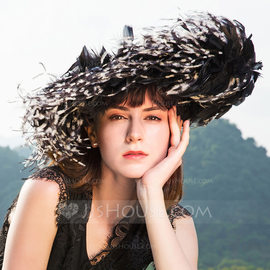 Ladies' Simple/Vintage/Artistic Cambric With Feather Fascinators/Kentucky Derby Hats (196178841)