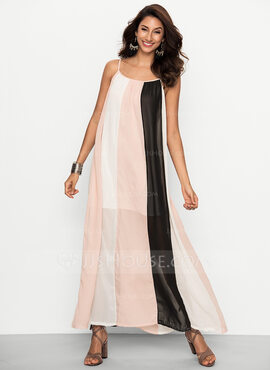 Chiffon With Stitching Maxi Dress (199170069)