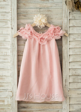 A-Line/Princess Knee-length Flower Girl Dress - Chiffon Short Sleeves Scoop Neck With Flower(s) (010093250)
