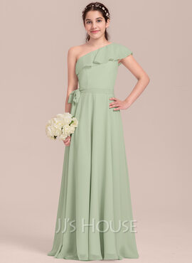A-Line One-Shoulder Floor-Length Chiffon Junior Bridesmaid Dress With Cascading Ruffles (009130651)