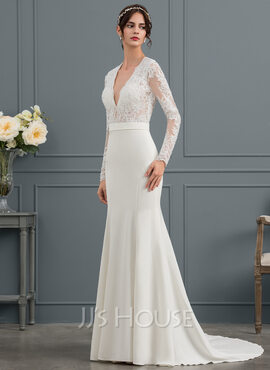 Trumpet/Mermaid V-neck Court Train Stretch Crepe Wedding Dress With Beading Sequins (002153459)