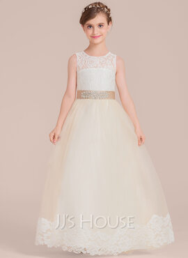Ball-Gown Scoop Neck Floor-Length Tulle Junior Bridesmaid Dress With Sash Beading