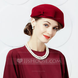 Ladies' Simple/Pretty/High Quality Wool With Bowknot Beret Hat (196177618)