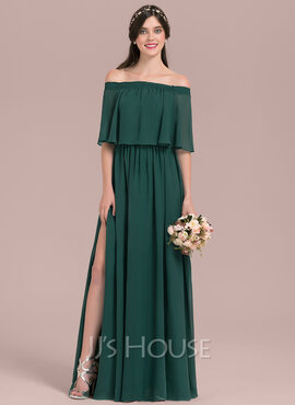 Off-the-Shoulder Floor-Length Chiffon Bridesmaid Dress With Split Front (266209948)