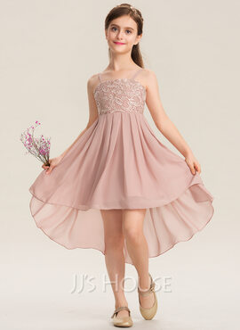 A-Line Square Neckline Asymmetrical Chiffon Lace Junior Bridesmaid Dress (009173297)