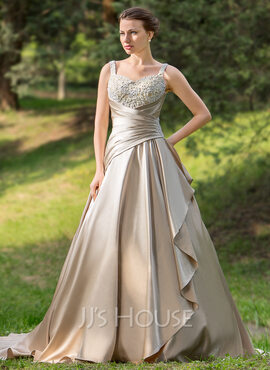 Ball-Gown Sweetheart Court Train Satin Wedding Dress With Ruffle Beading Appliques Lace Cascading Ruffles (002024696)