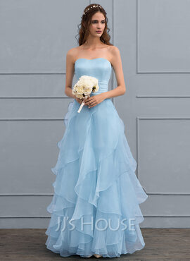 A-Line Sweetheart Floor-Length Organza Wedding Dress With Cascading Ruffles (002119802)