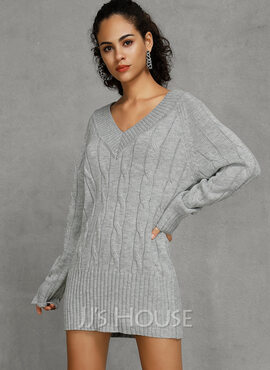 Solid Cotton Spandex V-neck Pullovers Sweater Dresses Sweaters