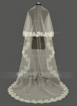 One-tier Lace Applique Edge Cathedral Bridal Veils With Applique (006053195)