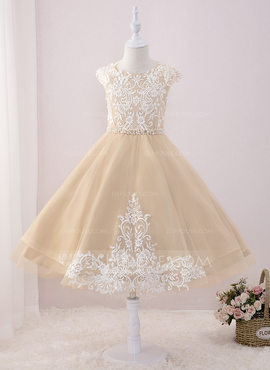 Ball-Gown/Princess Tea-length Flower Girl Dress - Tulle/Lace Sleeveless Scoop Neck With Beading/Sequins (010195353)