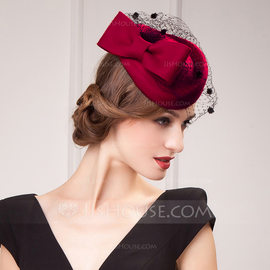 Ladies' Special/Artistic Wool With Tulle Beanie/Slouchy/Tea Party Hats (196173549)