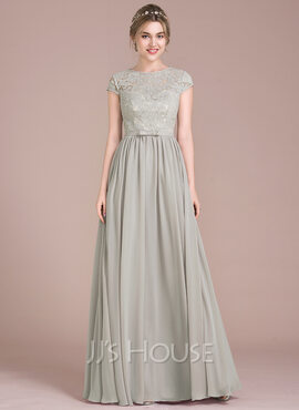A-Line/Princess Scoop Neck Floor-Length Chiffon Lace Bridesmaid Dress With Bow(s) (007104737)