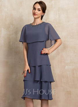 A-Line Scoop Neck Knee-Length Chiffon Mother of the Bride Dress With Beading Sequins Cascading Ruffles (008217318)