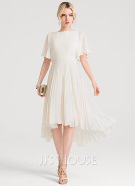 Scoop Neck Asymmetrical Chiffon Cocktail Dress With Pleated